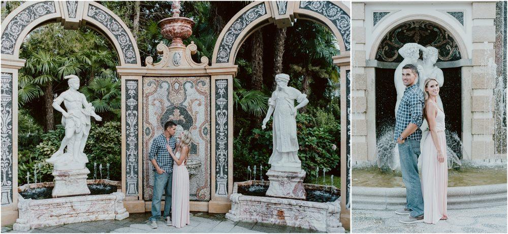 Sessione di ritratti di coppia nel giardino del Grand Hotel Des Iles Borromees