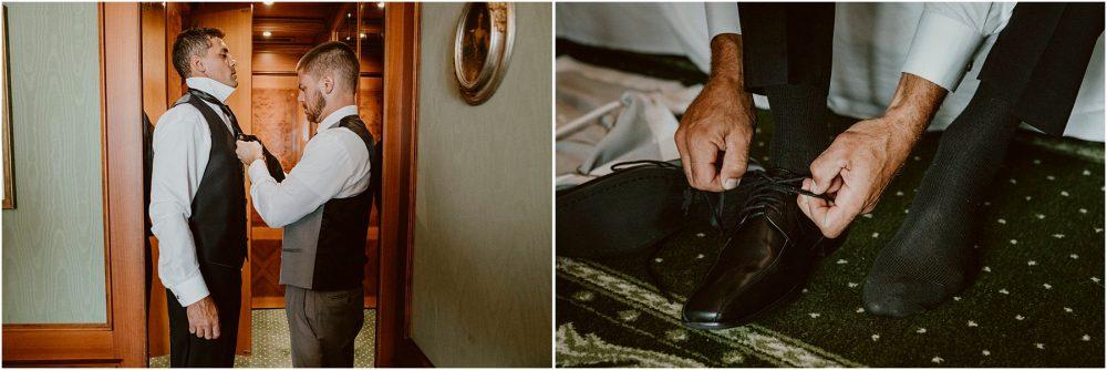 Lo sposo con i testimoni si prepara al Grand Hotel Des Iles Borromees, Stresa Lago Maggiore