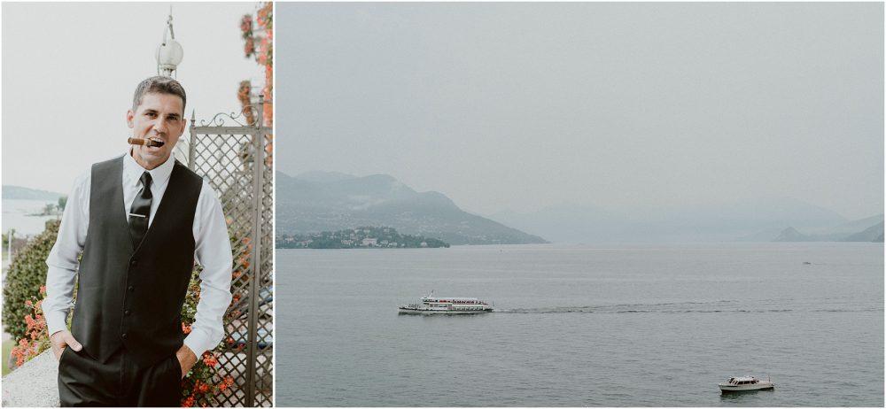 Lo sposo si prepara al Grand Hotel Des Iles Borromees, Stresa Lago Maggiore