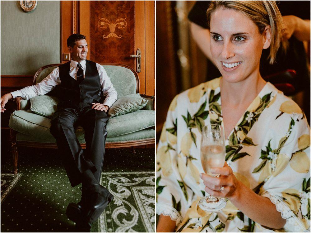 Lo sposo e la sposa si preparano al Grand Hotel Des Iles Borromees, Stresa Lago Maggiore