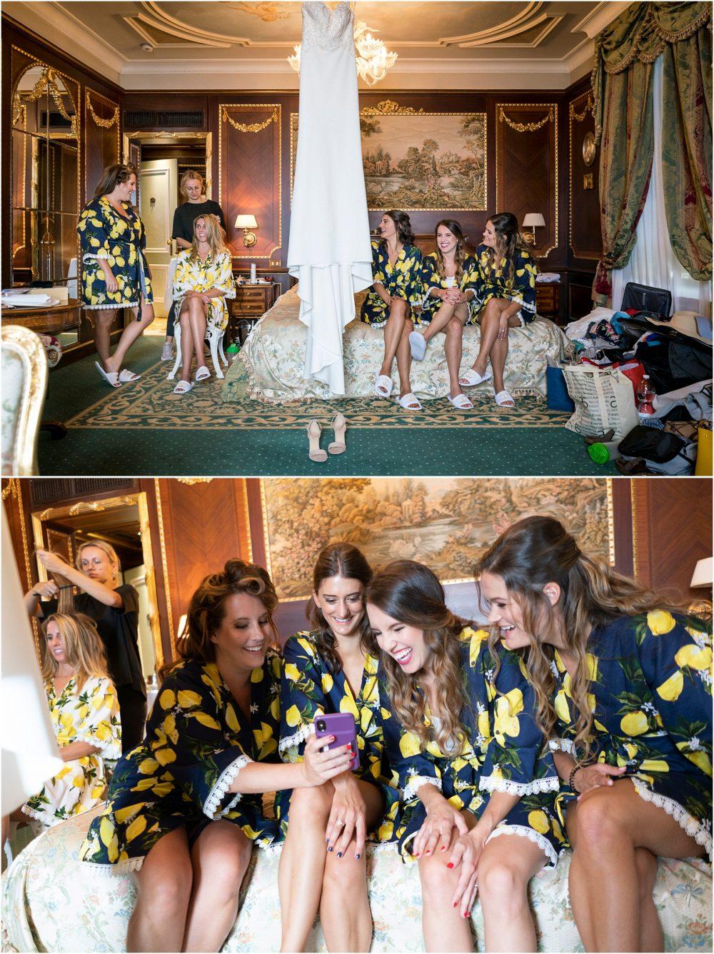 Lo sposa con le damigelle si prepara al Grand Hotel Des Iles Borromees, Stresa Lago Maggiore