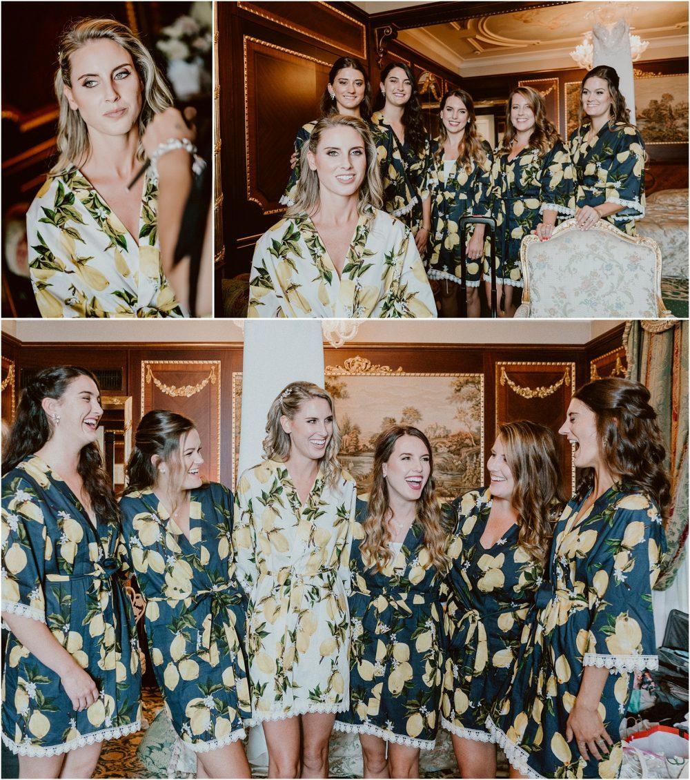 Ritratto della sposa con le amiche  al Grand Hotel Des Iles Borromees, Stresa Lago Maggiore