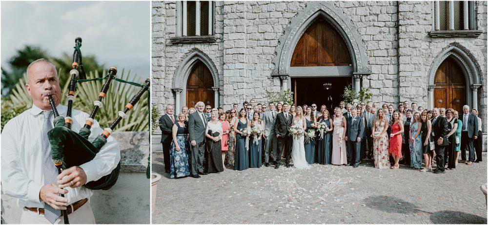 Chiesa parrocchiale dei SS. Giuseppe e Biagio ritratti e gruppo all'uscita,  Lago Maggiore Stresa