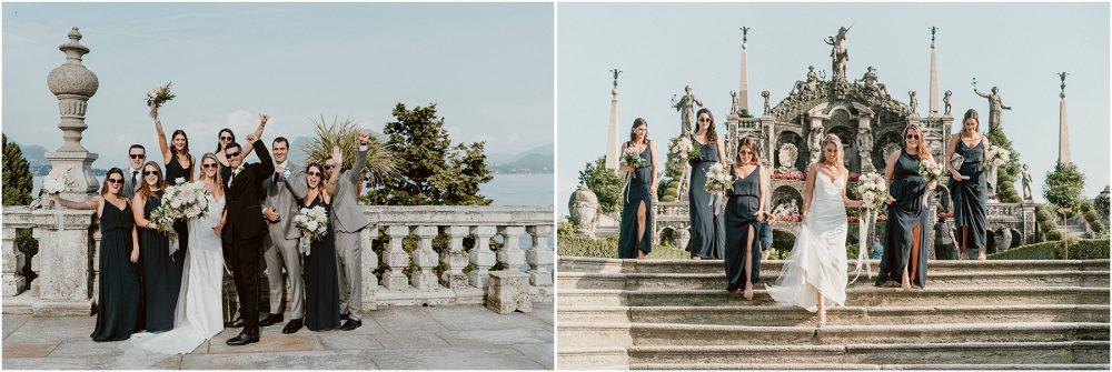 Ritratti dei testimoni con gli sposi all' Isola Bella, matrimonio Isole Borromee, Lago Maggiore Stresa