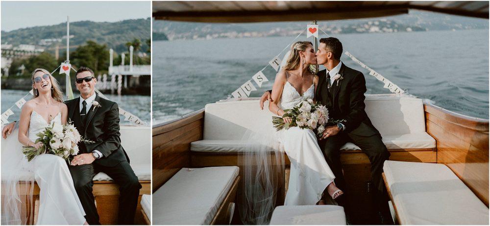Ritratti degli sposi in motoscafo barca sul Lago Maggiore