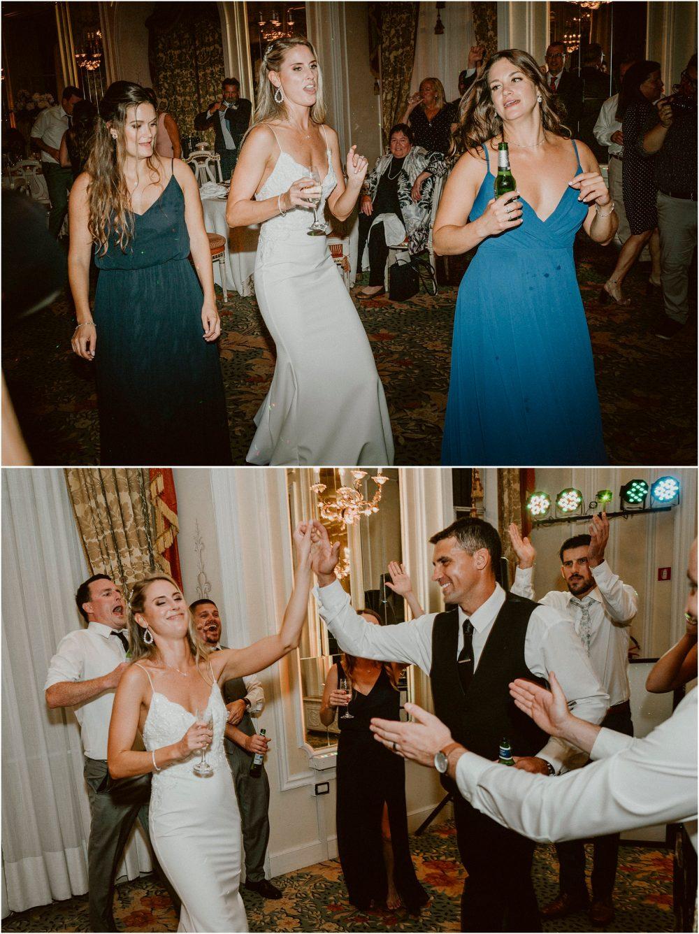 Grand Hotel Des Iles Borromees, matrimonio Lago Maggiore Stresa gli sposi ballano con gli amici primo ballo