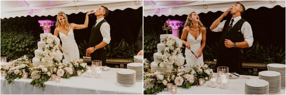 Grand Hotel Des Iles Borromees, matrimonio Lago Maggiore Stresa gli sposi tagliano la torta e la mangiano